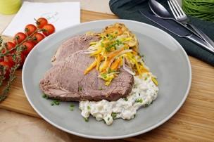 Gekochtes Rindfleisch mit Kohlrabigemüse & Rösterdäpfel