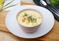 Lauchcremesuppe mit Kräuter-Croutons